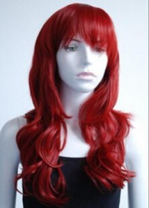 WIG الحرة الشحن النحاس الأحمر نمط بنات جنسي طويل الأزياء الباروكة كامل تأثيري متموجة
