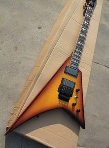 Sıradışı şekli elektro gitar gül ahşap ölçekli, alev bej kaplama, Floyd Rose, özel hizmet