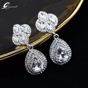 Strass Ohrringe Braut Hochzeit Piercing Imitation Schmuck Mode-Ohrringe für Frauen Kolczyki Wiszace Weiß Errings