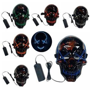 EL-Draht-Halloween-Maske LED leuchtet Lustige Masken Das Purge Wahljahr Großes Fest Cosplay Zubehör Partei Maske DBC VT0917