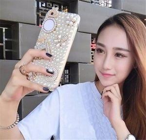 wholesale Bling Diamond Rhinestone Pearl Coque Case mirror case capa cover for Huawei P8 P9 Lite Mate 20 honor v10 P30 P30 PLUS