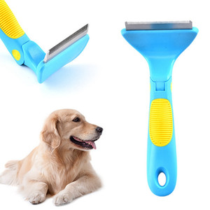 Paslanmaz Çelik Pratik Çok Fonksiyonlu Basit Açık Düğüm Tarak Plastik kaymaz Sap Ayarlanabilir Pet Köpek Bakım Tarak DH0629 T03