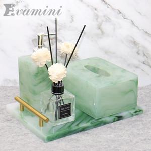 Vert européen Emeraude résine de bain Set décoration de la maison Distributeur de savon Porte-papier hygiénique Bouteille Désinfectant Plateau T