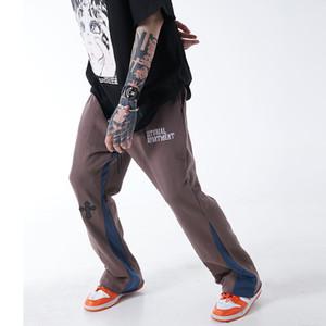 Цвет блока Cross Письмо печати Sweatpants мужчин и женщин Сыпучие кулиской Streetwear повседневные брюки Hip Hop шаровары
