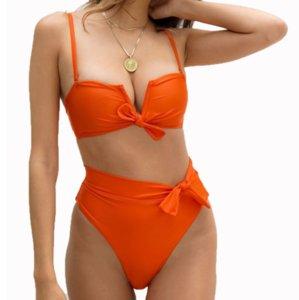 2020 V Neck Sexy Bow Bikini femmes Push Up Natation Porter taille haute en deux pièces maillot de bain bandeau Biquini V Cut Beachwear Maillot de bain