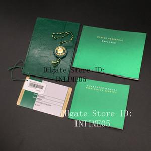 Alle Serien Original-Correct Paper Top Green Gift Bag für Rolex-Kästen Booklets Uhren freier kundenspezifisches Druck Modell Seriennummer-Karte
