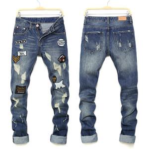 Erkek Jeans Yeni Stil Erkekler Badge Jeans Slim Fit Denim Hip Hop Casual Erkek Tahrip Pantolon Düğme Pantolon Asya Boyut
