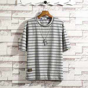 Hommes Coton rayé noir Fitness t-shirt blanc d'été Streetwear Harajuku T-shirt surdimensionné Hip-hop T-shirt Casual Male Fashion