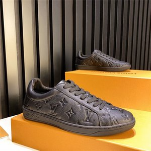 New Men's sneakers trainer 1A5UIS LUXEMBOURG SNEAKER black white embossed grained calf leather sneakers Men shoes with box 39-45 wholesale