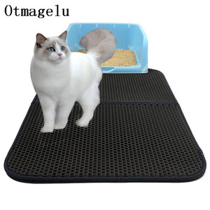 Pet Dog Cat Litter Mat Doble capa EVA Cat impermeable Catcher Mat Trapper Pad Superficie lisa Agujeros transpirables Kitty Carpet