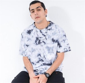 Tie Dye Mens Designer Tshirts Fashion Loose Print Panelled Short Sleeve Mens Tees Casual Males Clothing