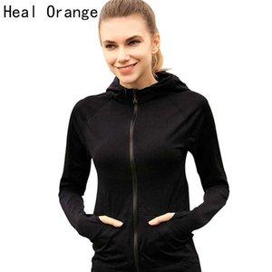 HEAL ORANGE Женщины Спорт куртки на молнии с капюшоном Запуск пальто Quick-Dry с длинными рукавами, центр Толстовка Фитнес Верхняя одежда Top Куртки