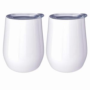 DIY süblime şekilli Bardaklar çift süblime özel için paslanmaz çelik Mug duvarlı mandal 12 oz şarap bardak yumurta kapak LJJA3791-2