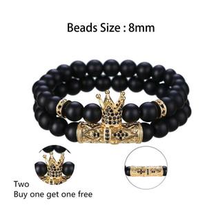 2 Set Armbänder - Matte Black Onyx 8MM Krone Männer und Frauen Tattoo Persönlichkeit Freundschaft Geschenk Armband