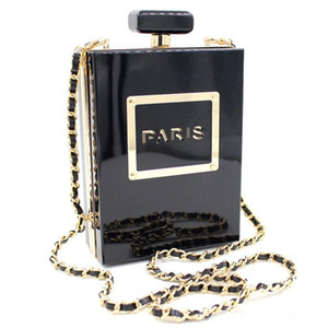 Nueva caja de acrílico famoso botellas de perfume en forma de cadena de la tarde del embrague bolsos de las mujeres Embragues plexiglás Claro / Negro