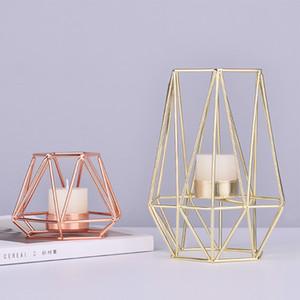 Золотая роза золото геометрической железа романтического держатель аромат свеча настольное украшение свеча чашка
