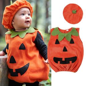 0-3Y Nouvellement cosplay Halloween Tout-petit bébé Kid citrouille sans manches imprimé Romper combis Tops + Chapeaux Vêtements de bébé Costumes 2PCS