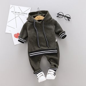 Ropa del niño infantil de los bebés de la manga larga sólida con capucha Tops chándal pantalones de los niños fijaron el equipo (1-4 años)