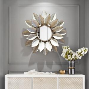 Moderno Ferro Battuto Wall Hanging specchio decorativo 3D parete Mestieri murali KTV Casa Soggiorno sfondo metallico Ornament Decor
