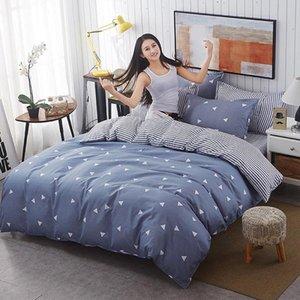 100% algodón 4 PC a simple botón beding frontera set 1 funda nórdica con 1 hoja 2 fundas de almohada planas