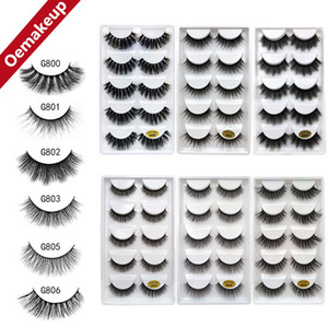 Support to OEM Customize 5Pairs 3D Mink Hair False Eyelashes Criss-cross Wispy Cross Fluffy G800 Lashes Extension Handmade Eye Makeup Tools