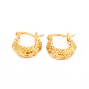 Pendientes de aro chapados en oro con forma de ola de agua del anillo anual Twist Tree para mujeres