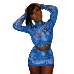 Sexy Hot Angel Matching Set Women Fashion 2020 Floral Print Two Piece Outfits Long Sleeve Mesh Shirt And Skirt Sets