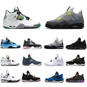Nike Air Jordan Retro 4 Da X Carnaval Tribunal roxo Bred 4 4s IV Cactus Jack Mens tênis de basquete branco Cimento Denim Men Blue Mulheres Esportes sapatilhas do desenhista