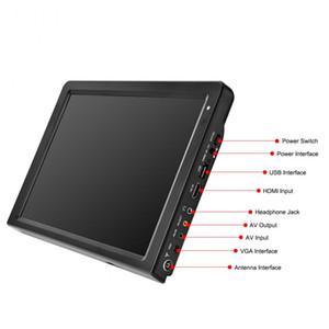 12 인치 휴대용 미니 텔레비젼을을 Freeshipping 것은 / T2 / H265 / HEVC 돌비 AC3 1280 * 800 TF 카드를 들어 홈 / 자동차 차량용 충전기 자동차 마운트 DVB-T 지원
