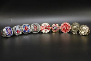 9pcs / set Boston 1912 1915 1916 1903 1918 2004 2007 2013 2018 Campeonato Mundial de béisbol Red Sox anillo al por mayor de envío de la gota