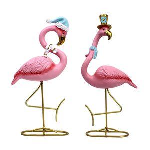2x Nordic Style Flamingo ornamenti in miniatura Scultura Mini Crafts Delicate