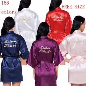 soft Satin Wedding Kimono Bride bridesmaid Gold Robe Sleepwear Bridesmaid Robes Pajamas Bathrobe Nightgown Spa Bridal Robes Dressing Gown