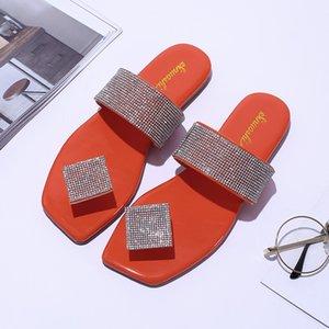 kara elmas çevirme daire bling kadınlar için düz rahat geniş genişlik sandalet terlik kızlar yaz plaj kayma flop