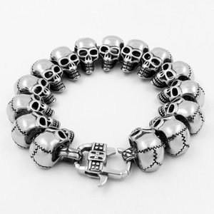 2020 New European and American Creative Retro Titanium Steel Bracelet Skull Mens Stainless Steel Bracelet Punk Jewelry US Size