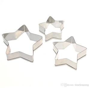 Durável em 3pcs uso / set de cinco pontas estrela forma bolinho molde DIY bolo de aço inoxidável molde assar apenas ferramentas moldar o navio livre