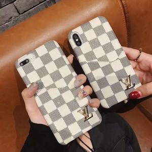 Für 7 7plus 8 8plus 6 6plus steckbare Handyhülle aus Metall LOGO Brand Design für iPhone X XR XS MAX Schutzhülle braunes Gitter