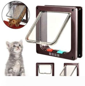 A pet gate with door dog cat flap door 4 way locking with Tunnel Upto 55mm Thick sm medium large dog cat door
