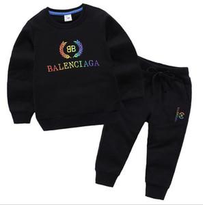 6 couleurs Marque Designer 90% coton Enfants Vêtements Femmes Filles Garçons Vêtements Set Survêtements Vêtements de sport à manches longues Sweat-shirt + pantalon Set pour les enfants