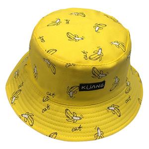 2019 Yeni Panama Kova Şapka Erkekler Kadınlar Yaz Kova Kapağı Muz Baskı Sarı Şapka Bob Şapka Hip Hop Gorros Balıkçılık Balıkçı Şapka