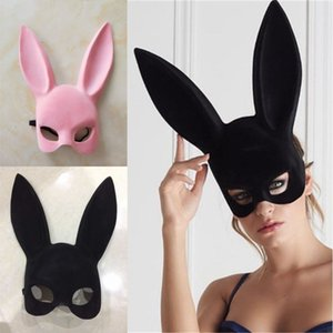 Longues oreilles de lapin Masque de lapin Masque Costume Party cosplay Halloween mascarade rose / noir Halloween mascarade masques de lapin