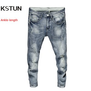 Mens Jeans Skinny Stretch Japan Style Hemmed Frayed Distressed Summer Thin Casual Pants Light Blue Joggers Boys Students Jeans