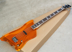 Wholesale 4 strings yellow acrylic electric bass guitar with chrome hardware,rosewood fretboard with white binding,Active circuit