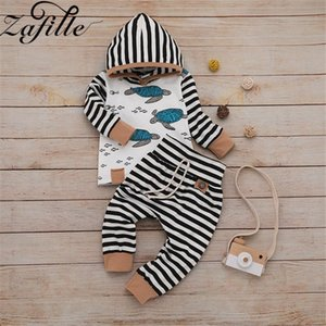 ZAFILLE 2020 Newborn Clothes Set Cotton Long Sleeve Stripe Patchwork Turtle Print Outfits For Baby Boy Clothes Hooded Kids Suits