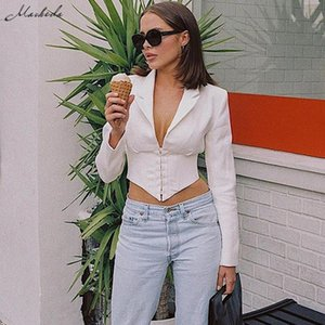 Macheda Sexy Low Cut Bust Single Breasted V Neck Tops Women Navel Bare Long Sleeve Shirts For Lady Cropped Top 2020 New
