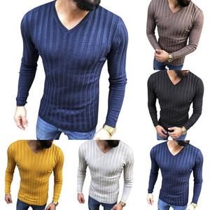 Erkek Yeni Sıcak Casual Triko Uzun Kollu Çizgili Spor Örme Kazak Kazak Erkekler Üst Giyim Triko