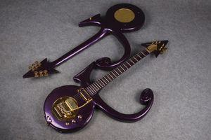 1993 Rare Purple Prince Symbole Guitar Floyd Rose Bridge Bridge Hardware Gold Custom Symbole Résumé Symbole Purple Rain Guitar Guitar Outlet