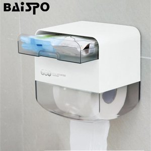 BAISPO Toilet Paper Holders Multifunctional Tissue Garbage Bag Storage Box Waterproof Toilet Paper Rack Double Layer Dispenser T200425
