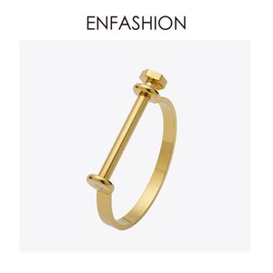 Enfashion Shackle U Cuff Pulsera Noeud brazalete Color dorado Tornillo Brazalete Pulsera Para Mujeres Pulseras Manchette Brazaletes
