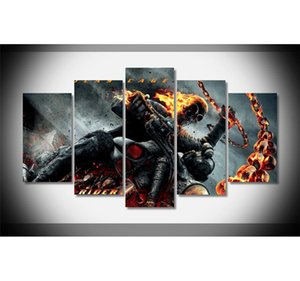 Ghost Rider, 5 Parça Ev Dekor HD Baskılı Modern Sanat Boyama Tuval üzerine (Çerçevesiz / Çerçeveli)