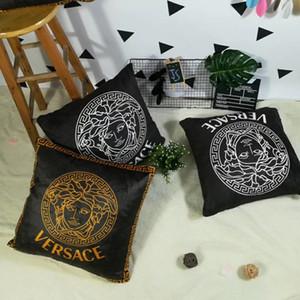 45 * 45cm Kreative Nordic schwarz und weiß pillowcase geometrische Gitter gestreift englische Buchstaben einfaches Sofa pillowcase (kein Kissen)